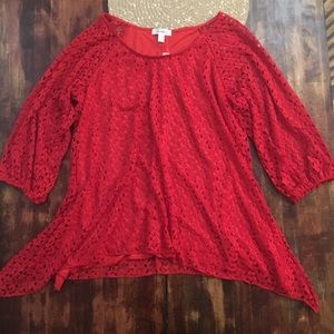 Red lace blouse with long sides